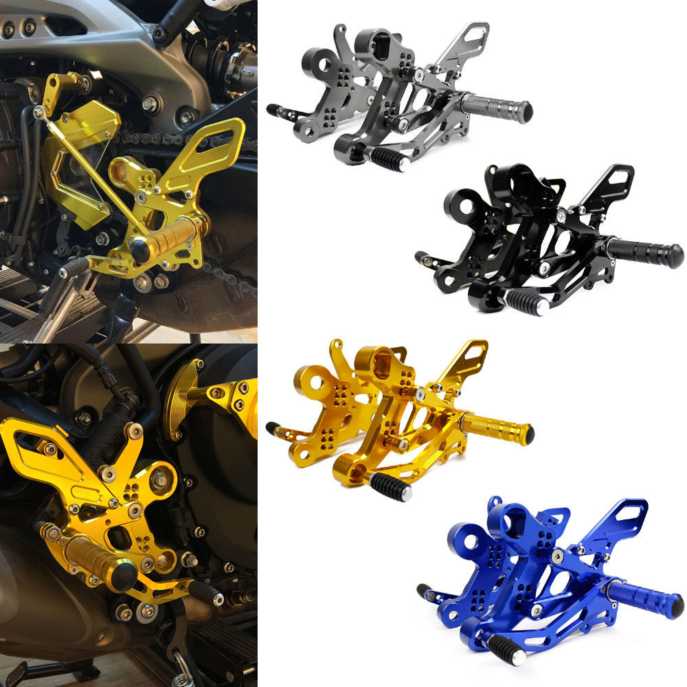 MT FZ 09 Motorcycle CNC Aluminum Adjustable Rear Sets Rearset Footrest Foot Rest Pegs For Yamaha