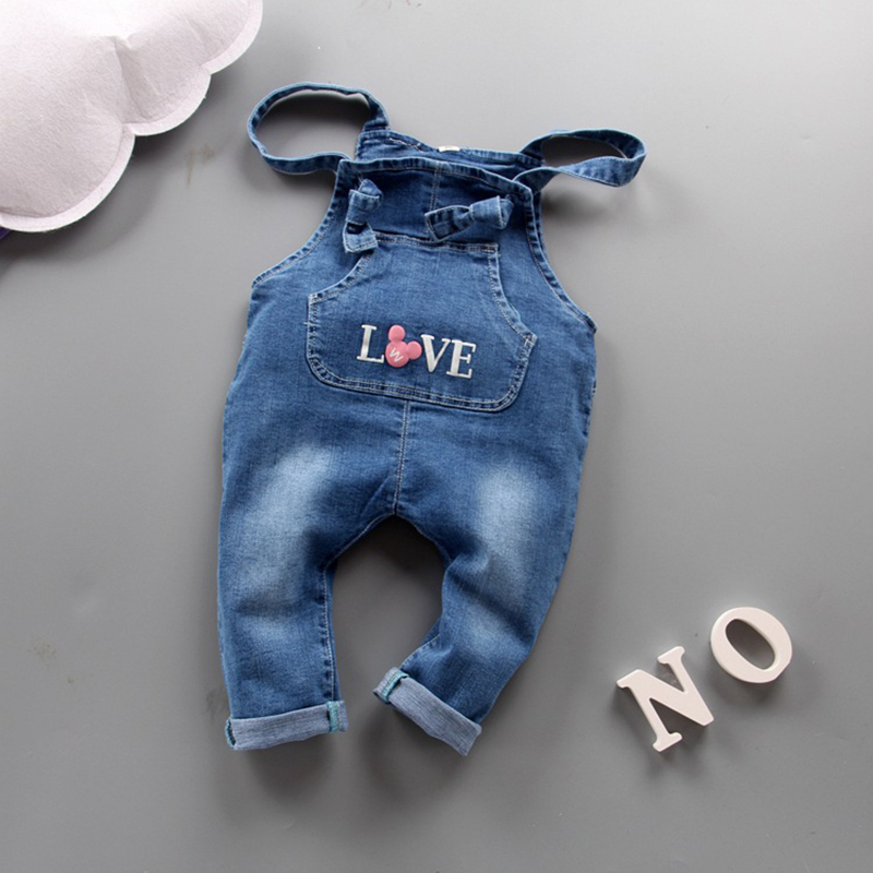 New Brand Baby Girl Clothing 2017 Bebe Jeans Overalls bow tie Rompers Infantil Jumpsuit For Toddler Girl infant Denim Coveralls newborn baby rompers baby clothing 100% cotton infant jumpsuit ropa bebe long sleeve girl boys rompers costumes baby romper
