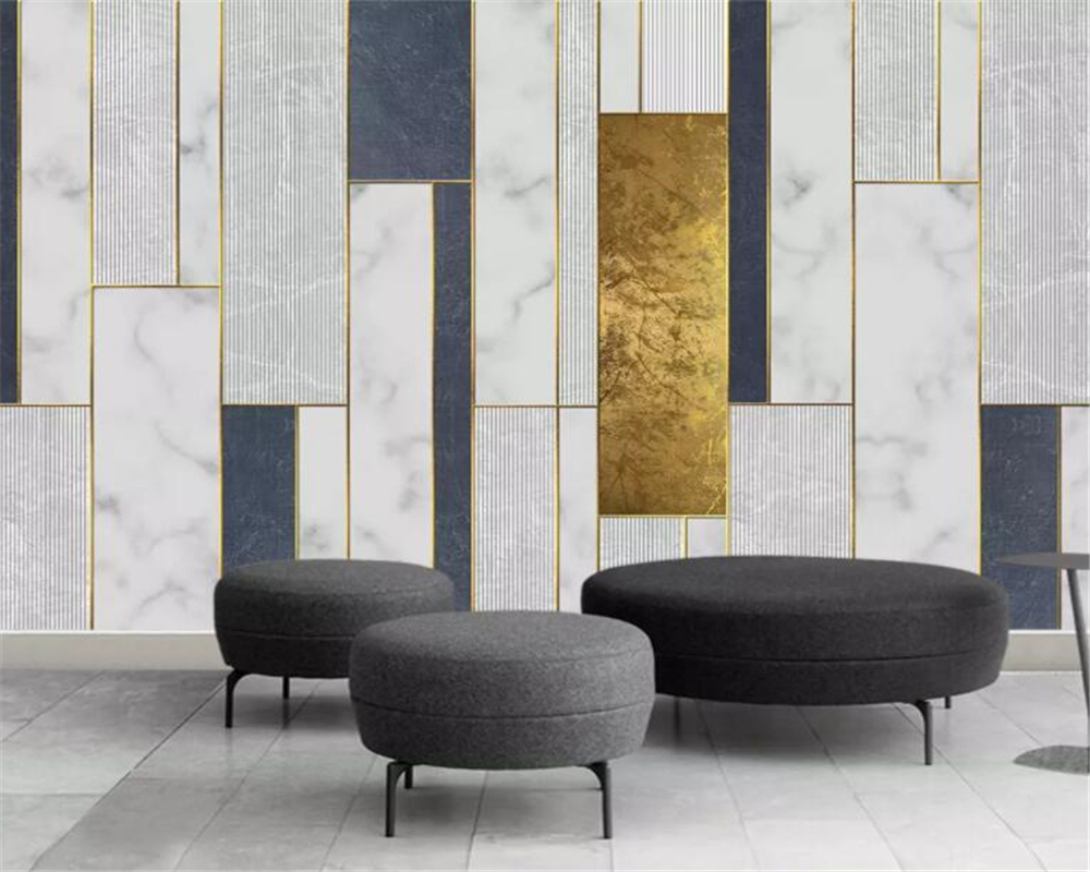 Beibehang Wallpaper For Walls 3 D Modern Minimalistic Geometric Gold Lines Mosaic Pattern TV Background Wall 3d Wallpaper Mural