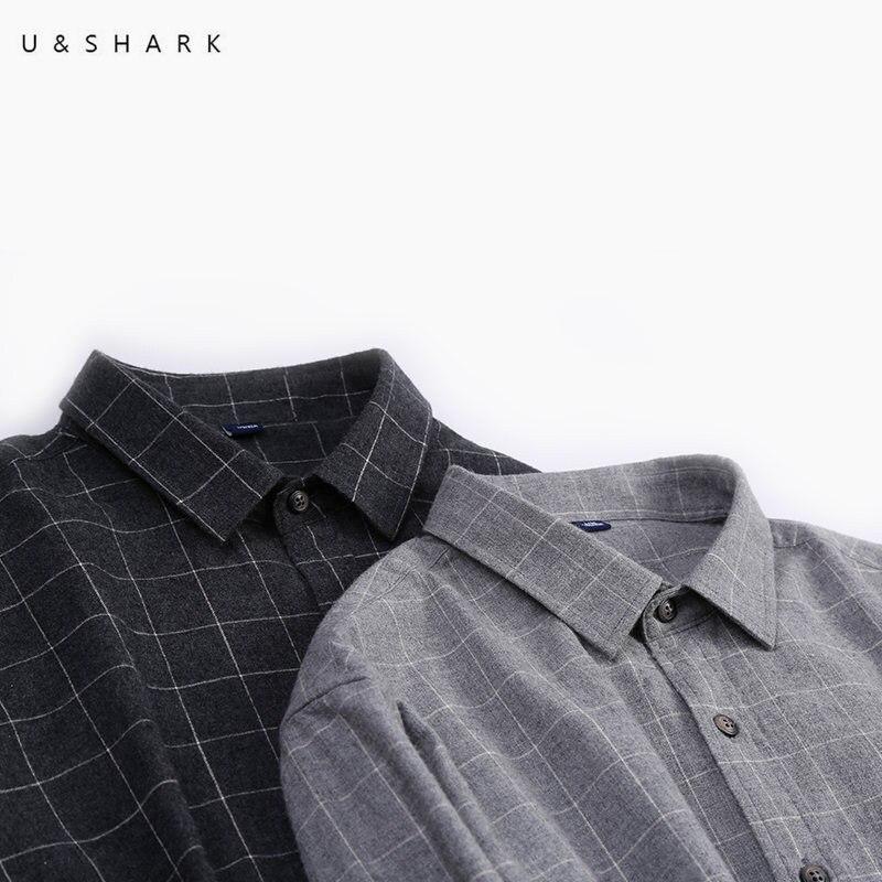 U&SHARK Autumn 100% Cotton Plaid Shirt Men Long Sleeve Casual Shirts Regular Fit England Stylish Men Clothing Flannel Shirt Male