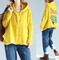 Lançamento de novos produtos no outono de 2016, o projeto original de algodão soltas grandes estaleiros de mulheres camisolas