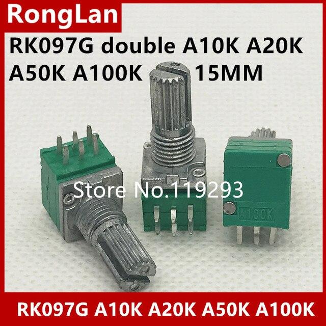[BELLA]Special audio / amplifier / high precision  double potentiometer 097 RK097G A10K A20K A50K  A100K 15MM  5PCS/LOT