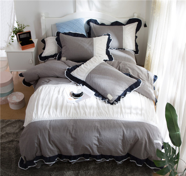 Us 108 6 40 Off Ivarose 100 Washed Cotton Luxury Princess Style Bedding Set 4pcs King Queen Size Bed Skirt Set Duvet Cover Pillowcases In Bedding