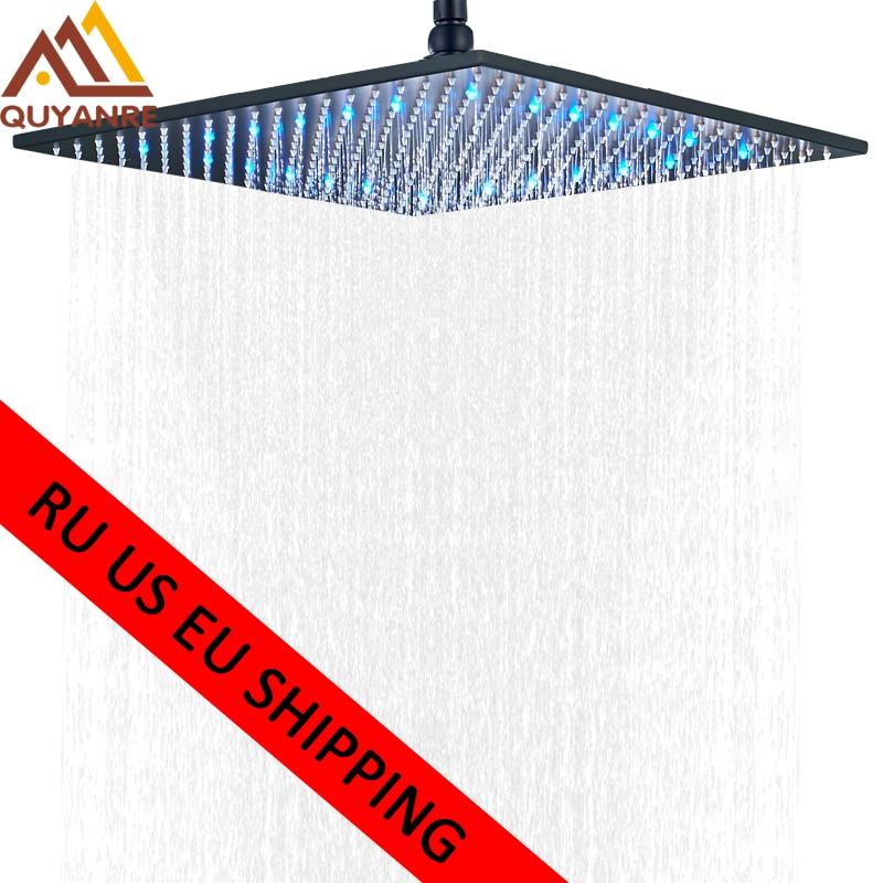 Black LED Changes 16 Rainfall Shower Head Solid Brass RGB LED Light Shower Head Large Rain