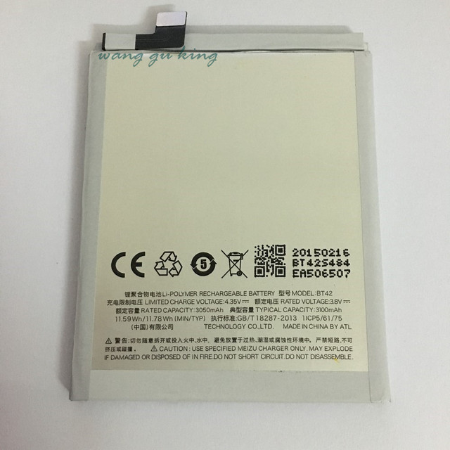 100% Original Backup new BT42 Battery 3100mAh for MEIZU M1 Note Battery In stock With Tracking number
