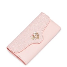 Women Love Mental Sequined Light Pink Leather Long Clutch Card Holder Wallet Ladies Purse