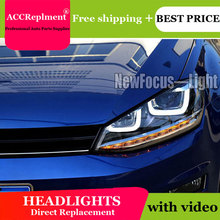 цена на Auto Lighting Style LED Head Lamp for VW Golf 7 GTI R20 led headlights golf7 angel eye led drl H7 hid Bi-Xenon Lens low beam