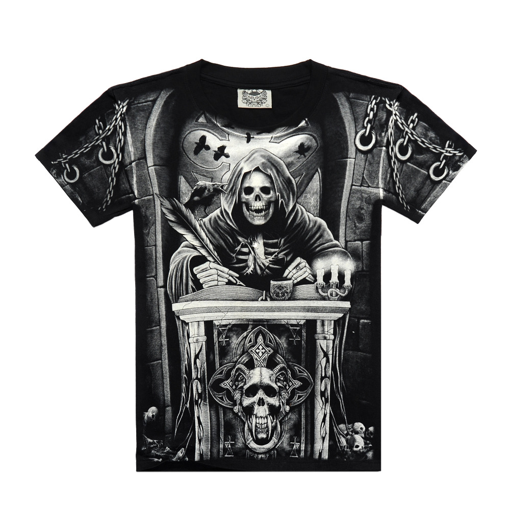 T black shirt rock - Supreme New Rocksir Men Brand Skull Scholar Full Print Short Sleeve Black T Shirt