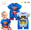 Cute Superman & Batman Body Baby Rompers Short Sleeve Fantasia Infantil Jumper Roupa Bebe Boys Creepers New 2015 Summer Clothing