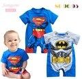 Lindo Superman y Batman cuerpo mamelucos del bebé corto manga Fantasia Infantil Jumper Roupa chicos Bebe enredaderas nueva 2015 ropa de verano