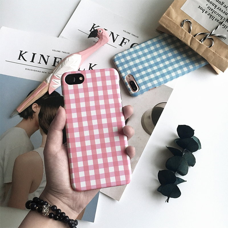 Styles include stripes and checks Cell Phone Case Cover for iphone 6 6s 7 8 plus simplicity Anti-knock phone cover half cover