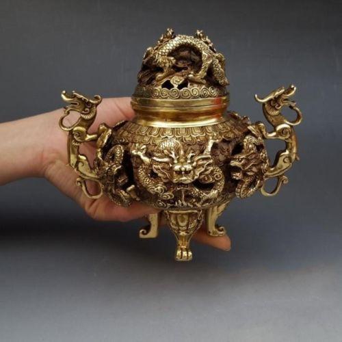 """7 """"latón chino dorado 9 dragón quemador de incienso censoria estatua quemador-in Incienso y quemadores de incienso from Hogar y Mascotas    1"""