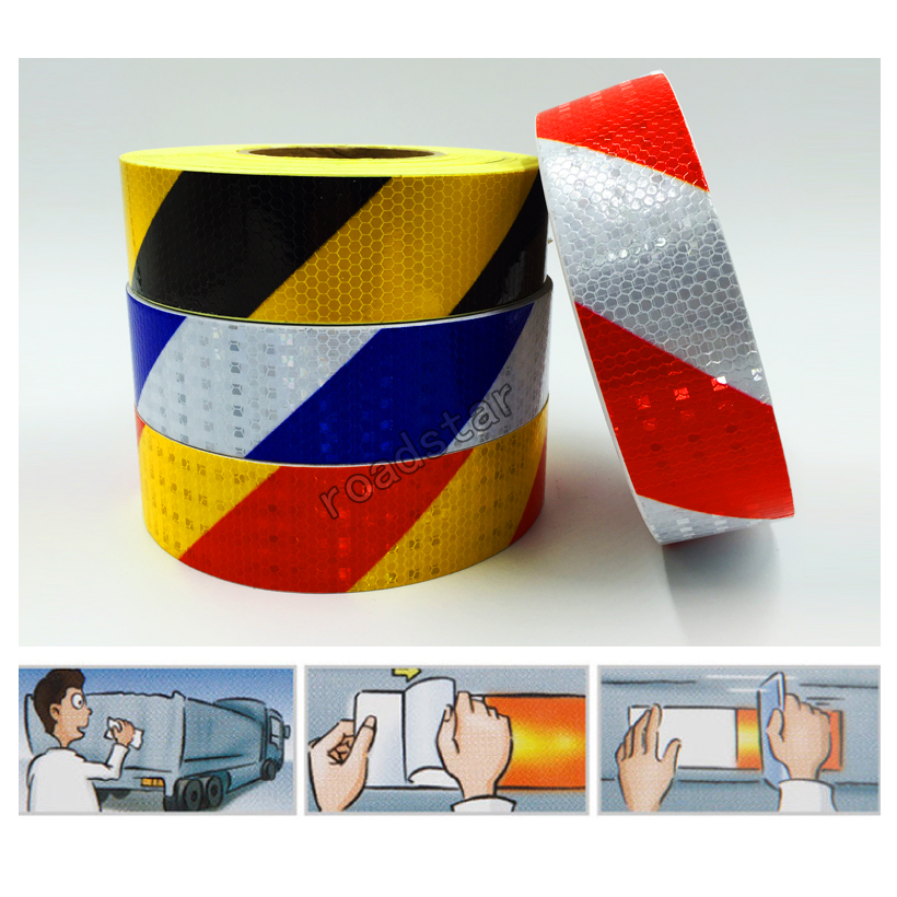 5cmx50m PVC Safety Reflective Warning Tape Conspicuity Film Sticker Multicolor in Traffic Signal from Security Protection