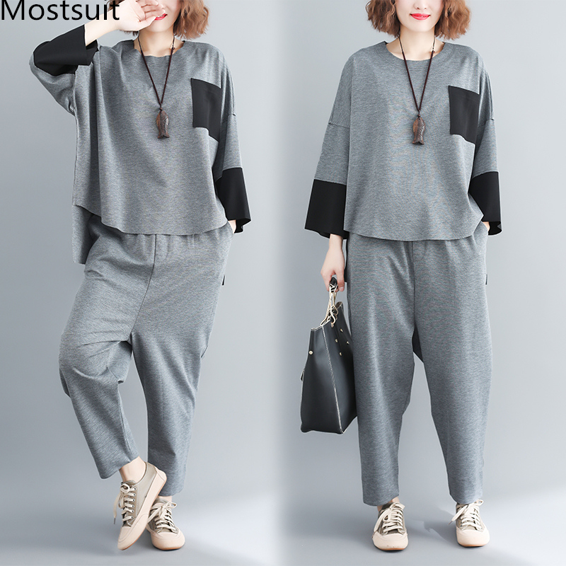 plus Size Mori Girl Grey Two Piece Sets Women Color-blocked Tops And Harem Pants Suits Casual Loose Women's Sets Feminino Mujer 29