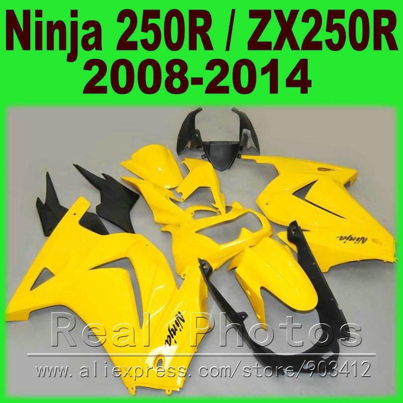 Glossy yellow Kawasaki 250R Fairings kit Ninja ZX 250 2008 2009 2010 2011 2012 2013 2014 EX250 08 - 14 fairing kits I9U7