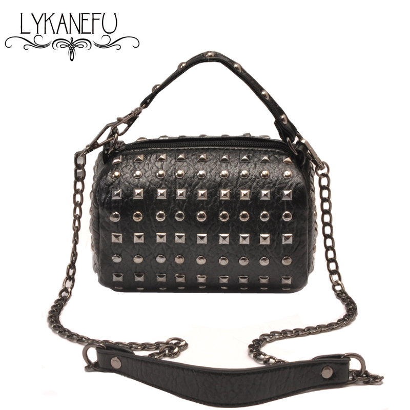 LYKANEFU Rivet PU Leather Bag Women Messenger Bags Female Crossbody Bags Clutch Purse and Handbag Bolsa Feminina Dollar Price lykanefu fashion black rock skull bag women messenger bags designer handbag clutch purse bag bolsas femininas couro dollar price