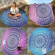 Indian Vintage Round Tapestry Wall Hanging Beach Throw rug Yoga Mat Boho Decor Round cotton beach Rug
