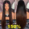 Dream Beauty Glueless Brazilian Virgin Hair Lace Front Wigs Straight 150% Full Lace Human Hair Wigs T1b/33 Ombre Human Hair Wigs
