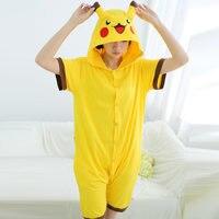 Jeden kawałek Pikachu Dorosłych Piżama ustawia letnie 100% bawełna Cartoon Zwierząt Piżama Dla Kobiet Mężczyźni Cosplay Costume Party