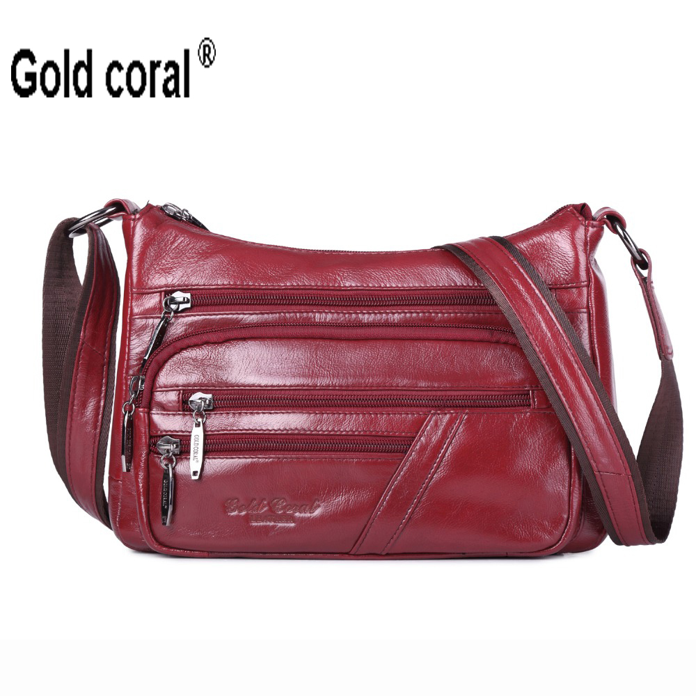 GOLD CORAL Genuine Leather Women s Shoulder Bags Fashion Messenger Bags For Women Tote Crossbody Bags