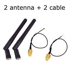2 ชิ้น/ล็อต 2.4GHz 3dBi WiFi 2.4GเสาอากาศRP SMAชายWireless Router + 17 ซม.U.FL IPXถึงRP SMA Pigtailสาย