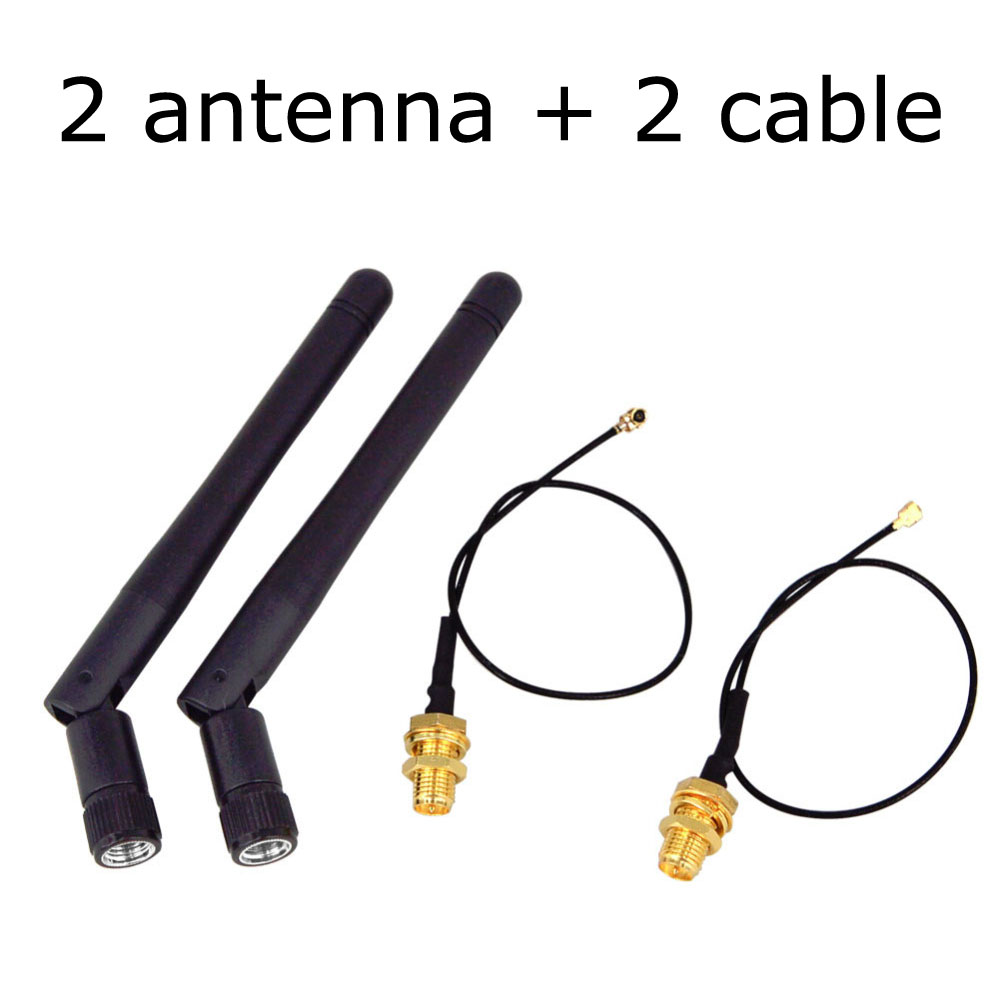 Eightwood WiFi Antenna 6dBi 2.4GHz 5GHz Dual Band RP-SMA Male Antenna with MHF4 to RP-SMA Female Pigtail Cable 6 inch 2-Pack for PC Desktop M.2 NGFF Wireless AC Network Card