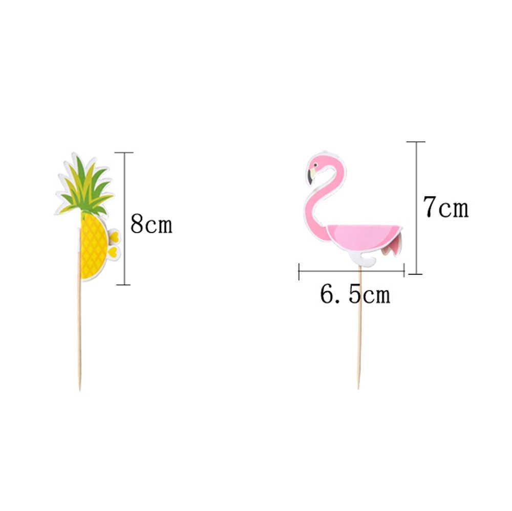 10 шт Вечерние декоративный, с рисунком Фламинго декоративный ананасовый торт, верхняя одежда, вставки тропический Hawiian Luau тема вечерние украшения для свадебного торта