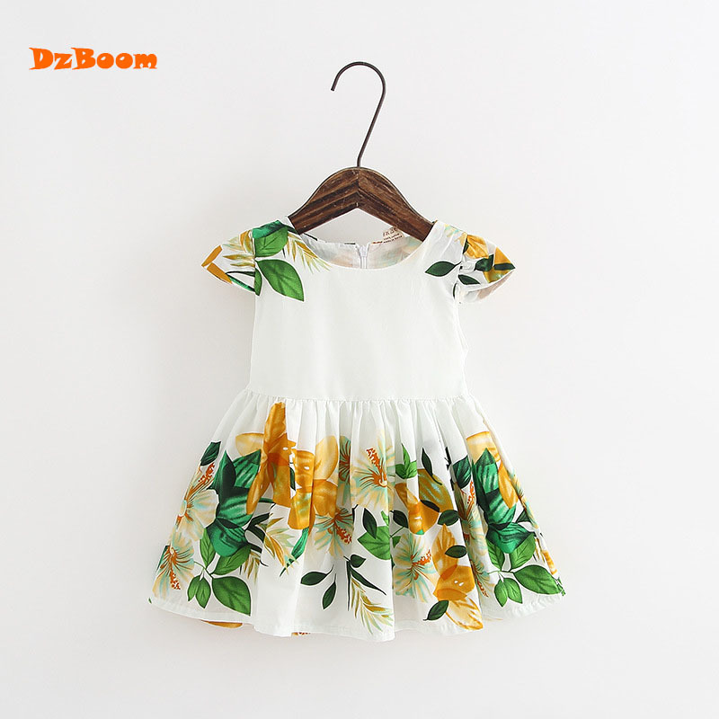 DzBoom 2017 Girls Summer Dress New Flower Leaf Print Party Fancy Dresses Infant Children Clothing Baby Girl Clothes Kids