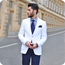White Men Suits Groom Tuxedos Business Male Blazer Costume Homme 2Piece Coat Navy Blue Pants Slim Fit Terno Masculino
