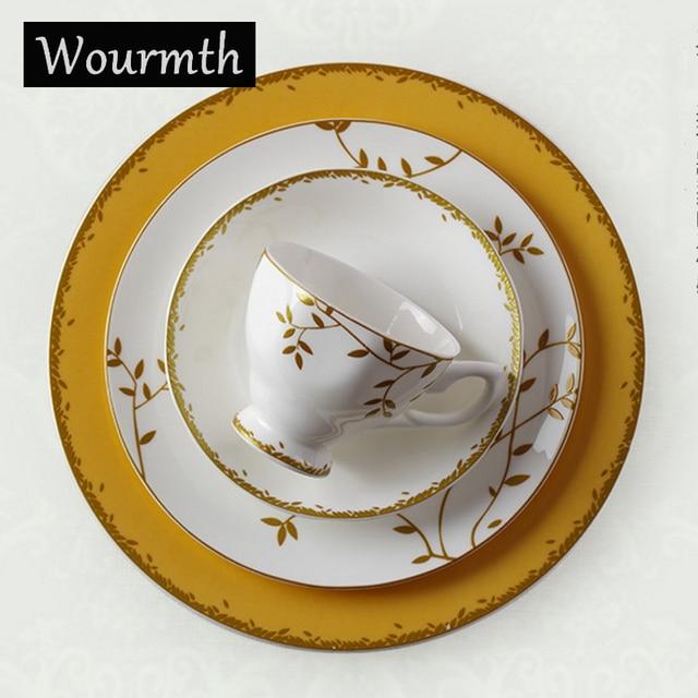 Wourmth Royal Bone China Porcelain Dinnerware Set Western Tableware Sets Dinner Plates Ceramic Dishes Coffee Mugs  sc 1 st  AliExpress.com & Wourmth Royal Bone China Porcelain Dinnerware Set Western Tableware ...