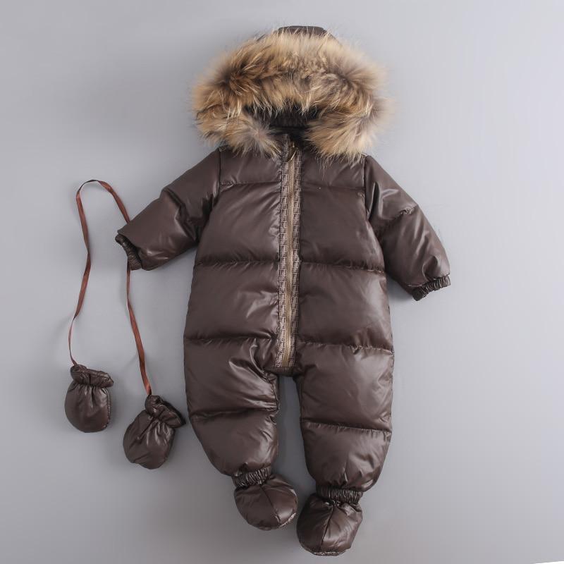 Фотография Mioigee 2017 Warm Winter Baby Snowsuit Newborn Duck Down Hooded Jumpsuit Infant Baby Girls Boys Bodysuits Overalls 6-24M