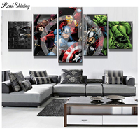 REALSHINING 5Pcs 3D Full Square Diy Diamond Painting Cross Stitch Pattern Diamond Embroidery Marvel Avengers Room