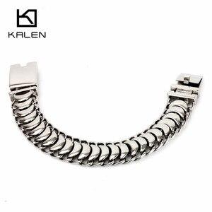 Image 5 - Kalen новый полированный блестящий браслет из нержавеющей стали, велосипедная цепь, велосипедная цепочка, браслеты, модные мужские аксессуары 2018