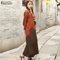 Hot Sale ZANZEA Women Dress 2016 Vintage Autumn Dress O Neck Long Sleeve Casual Loose Maxi Long Dresses Vestidos Plus Size