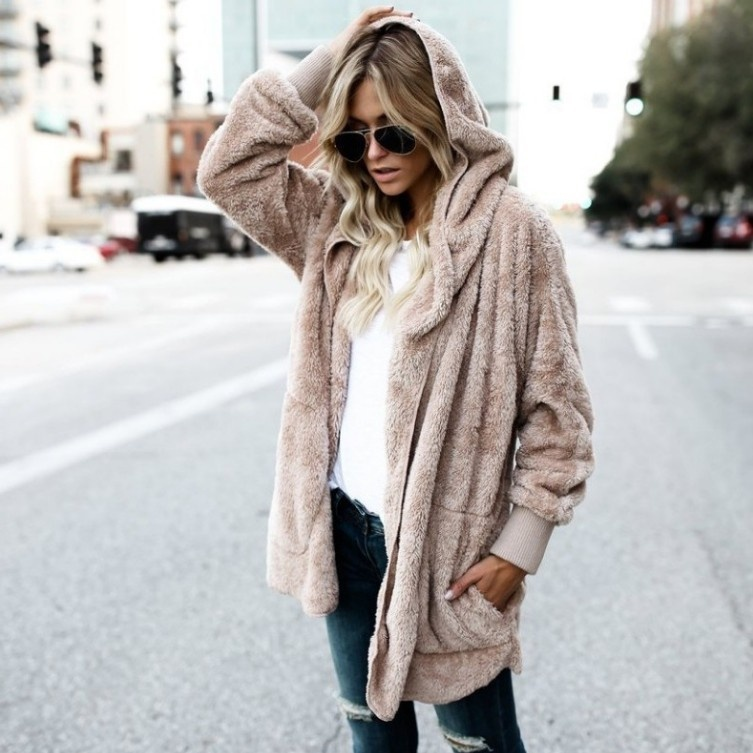 ZOGAA Ladies Fashion Hooded Coat Female Thickened Loose Faux Fur Cardigan Coat Autumn Winter Warm Hood Jacket Outwear Long Coat
