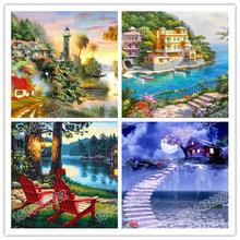 5D DIY Full Drill Diamond Painting Cross Stitch Sunset Sea Scenery Embroidery Rhinestones  Home Decor Landscape Garden