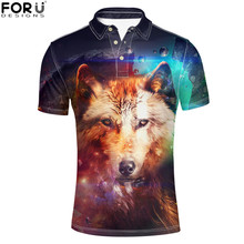 FORUDESIGNS Men Polo Shirt Starry Crazy Wolf Printed Mens Clothing Short Sleeve Adult Male Summer Brand Tops Tees Button L