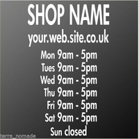 Window Sticker Opening Hours Times Shop Sign Font Display Custom Vinyl Wall Art shop decoration wall decals