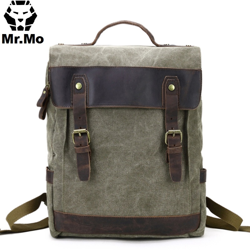 цены New Vintage Canvas Men School Book Bag Rucksack Mochila Laptop Backpacks Men College Weekend School Bags Casual Bookbag