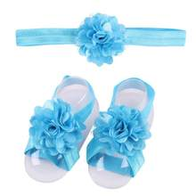 3 Pieces A Set Cute Baby Girls Toddler Flower Hairband Headband +Flower Barefoot Sandal / Shoes Set Children Accessories #15(China)