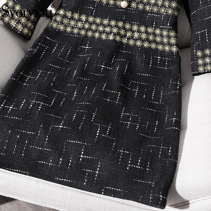 Pour Noir Piste Élégant Svoryxiu Robes Décontractées Hiver Femelle Ligne Or Vintage Broderie De Luxueux Femmes Automne Robe Partie q0fHwfnA