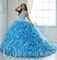 Gelo azul 2017 vestido de baile quinceanera vestidos em camadas ruffles sweet 16 Anos Da Princesa Vestidos Para crianças de 15 Anos Vestidos De 15 Anos