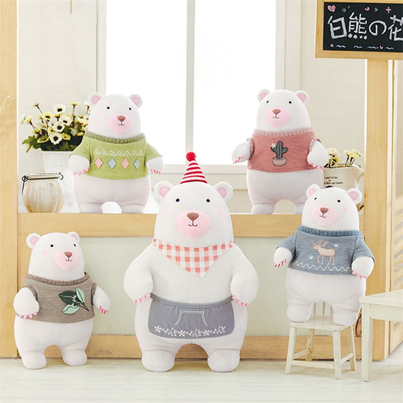 New Arrival Original Metoo Plush Dolls White Bear Plush Kids Baby Lucky  Dolls Toy  Stuffed Toys for Girls Gifts 34*25CM 20cm cute teddy bear plush kids toys stuffed dolls for children girls gifts baby