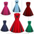 Starlist Vintage Button Multicolor Flare Pot Dot Sleeveless Tank High Waist Slim Fit Patchwork Knee Length 80S Style Dresses
