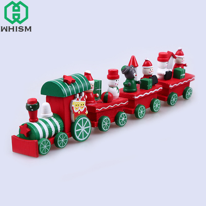 WHISM Colorful Wooden Christmas Train Mini Wood Xmas Party Home Decor Room  Ornament Diecast Vehicles Toy Gifts for Children Kids - WHISM Colorful Wooden Christmas Train Mini Wood Xmas Party Home