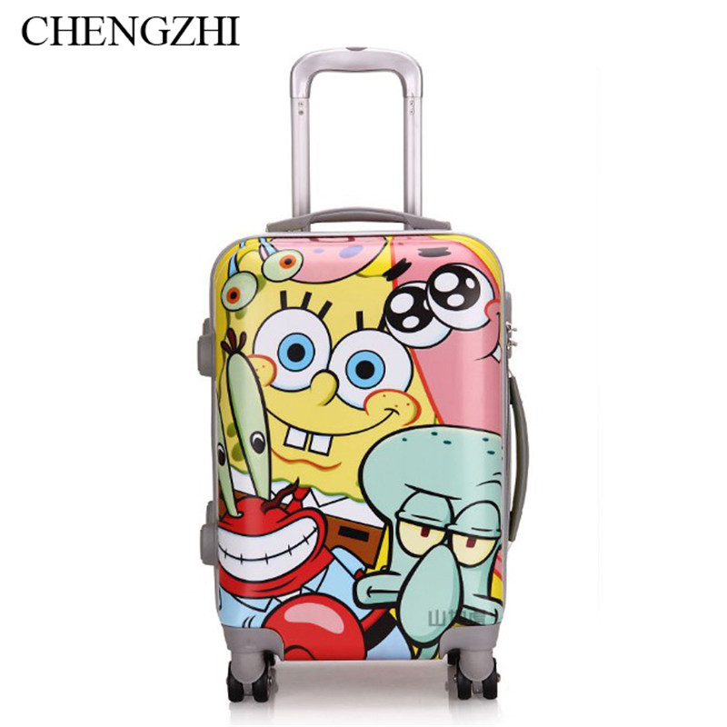 """CHENGZHI20""""inch Cartoon SpongeBob patterned  travel luggage bag with wheel suitcase for kids"""