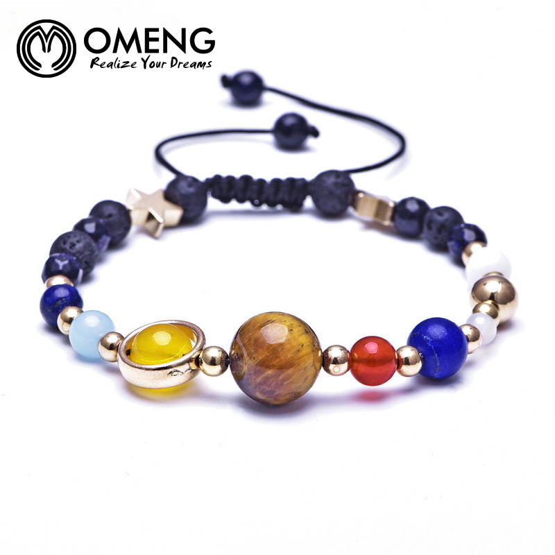 2018 Fashion Universe Galaxy the Eight Planets Solar System Guardian Star Natural Stone Beads Bracelet Bangle for Women SL592