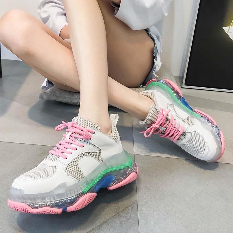 2018 Design Sneakers femmes sort couleurs plate-forme chaussures femmes respirant marche lacets femmes mocassins décontracté grande taille chaussures
