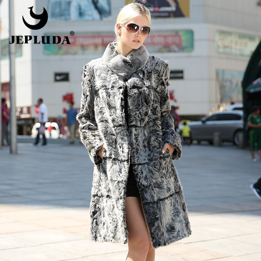 JEPLUDA Senhora Elegante Natural Real Rex Coelho Casaco De Pele de Cordeiro Gola mandarim Casaco De Pele Verdadeira Mulheres de Estilo Clássico Casaco De Peles casacos