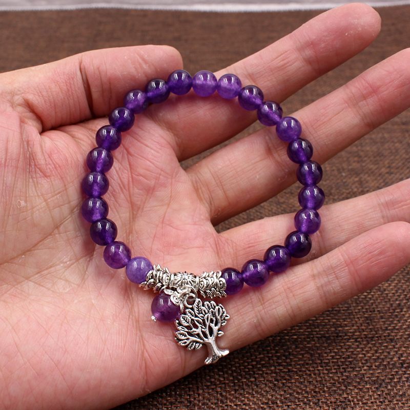 Image 5 - Women Mens Purple Stone Beaded Bracelets Mala Prayer Yoga Beads  Reiki Healing Meditation Tree of Life Pendant Energy BangleCharm  Bracelets